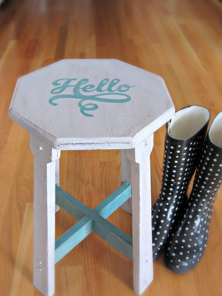 Homemade chalk paint stool makeover
