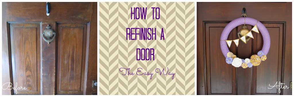 Awesome! You can refinish an exterior door WITHOUT removing it or stripping old stain! Learn how to refinish it the easy way with this tutorial.