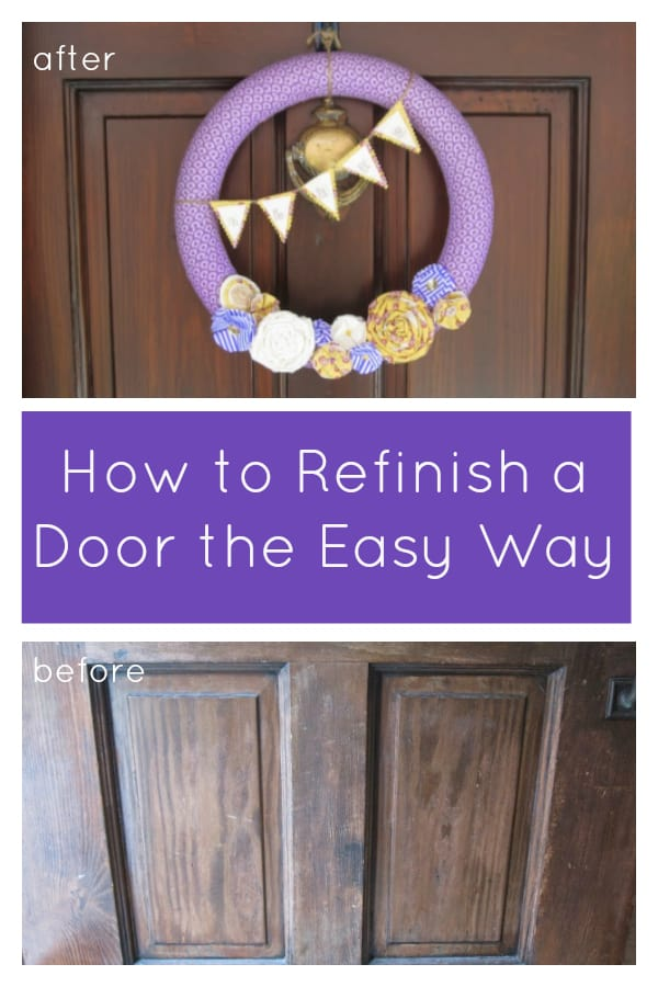 Click here for a comprehensive tutorial on how to refinish a door the easiest way possible! You don't even have to remove the door to give it a beautiful new look! See how this blogger used gel stain to revive an old wood door - saving lots of money in the process! #gelstain #doorrefinishing
