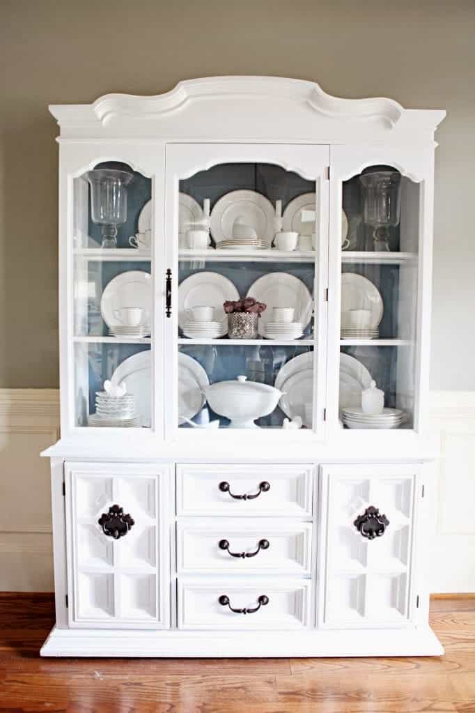 This china cabinet from Bower Power is a beautiful example of how to organize a china cabinet.