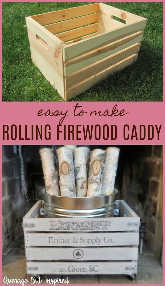 Love this! It's so easy to make a rolling firewood caddy with a wood crate. Learn how to customize a crate for looks and function. It's a great piece of fireplace decor!