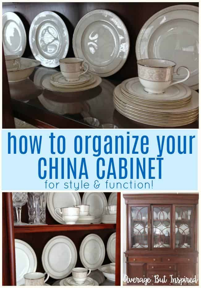 Learn how to organize your china cabinet so that it not only looks pretty but functions well!  These china cabinet organization tips are not to be missed!