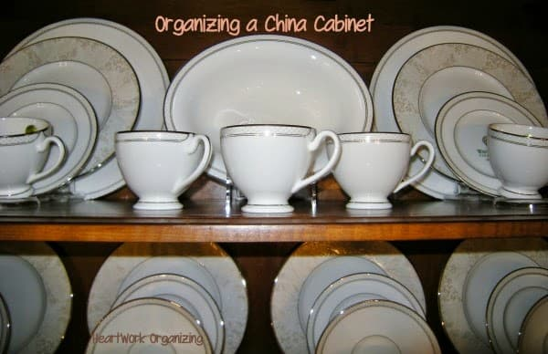 Heartwork Organizing shows you a wonderful way to organize a china cabinet.