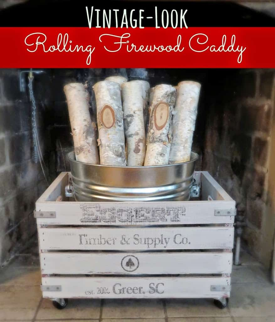 DIY rolling firewood caddy made from an unfinished crate available at Michaels.