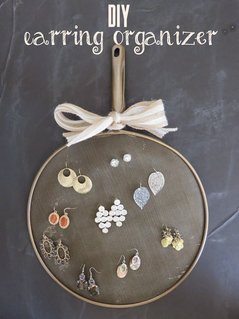 Transform a kitchen splatter screen into an earring organizer!