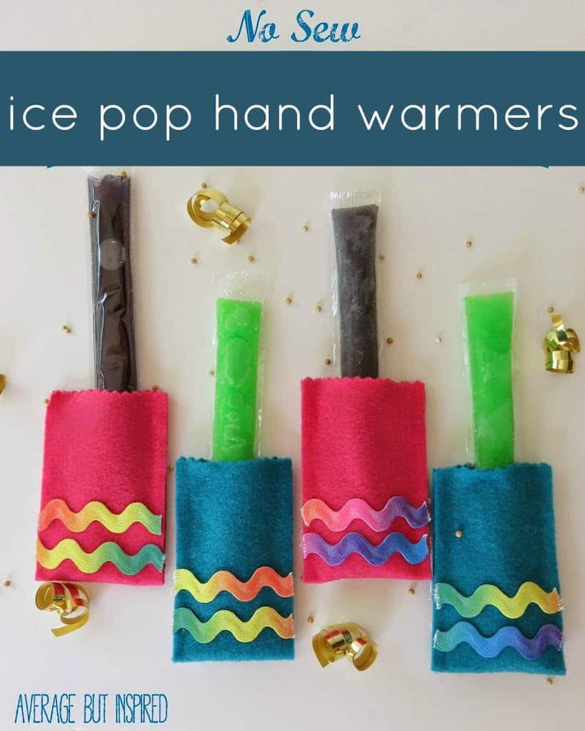 Keep your kids' hands warm while they enjoy their favorite frozen ice pop treats!  These no-sew ice pop hand warmers are so easy to make!  Get the full tutorial here.