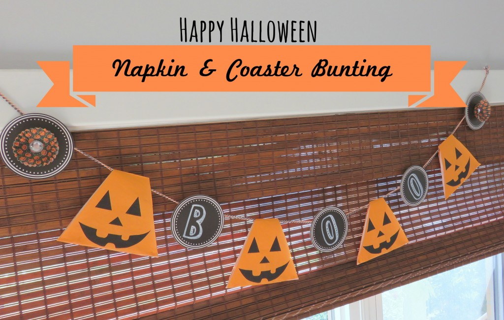 DIY Happy Halloween Bunting {made with coasters & paper napkins}