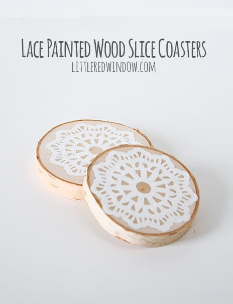 lace painted coasters
