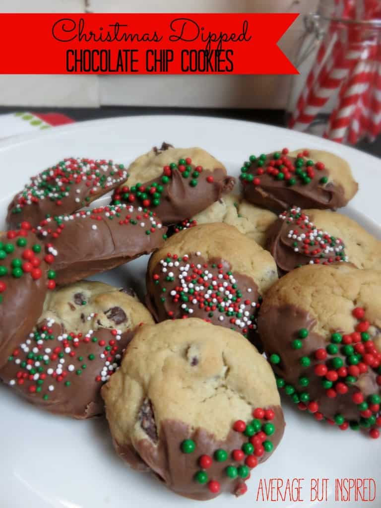 Christmas Dipped Chocolate Chip Cookies