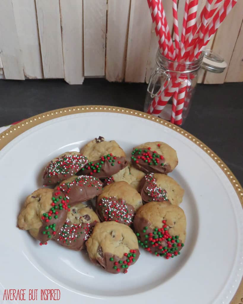 Christmas Dipped Chocolate Chip Cookies - Average But Inspired