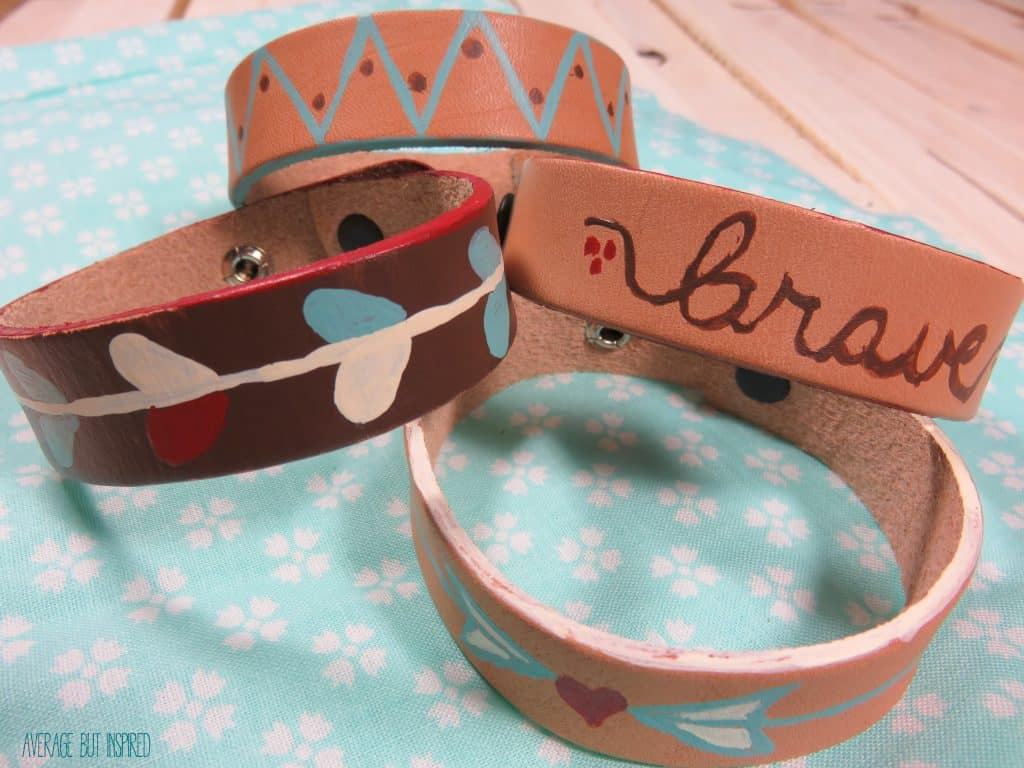 Customize leather cuff bracelets with Americana Multi-Surface paint.