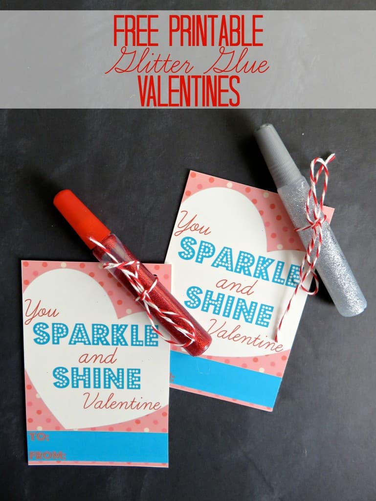 These Free Printable Valentines for kids are a fun no-candy alternative when you add a tube of glitter glue!