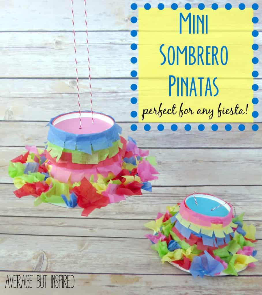 Make these fun mini sombrero pinatas for your next fiesta!  They're a quick project and inexpensive, too!