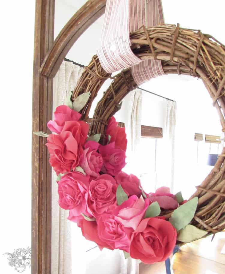 upcycled fabric rose wreath