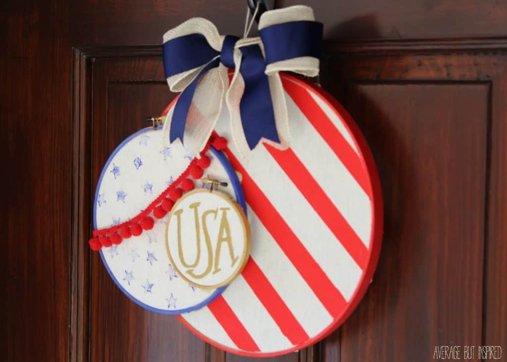 This unique embroidery hoop wreath will add a perfect touch of Americana to your front door for any patriotic holiday!