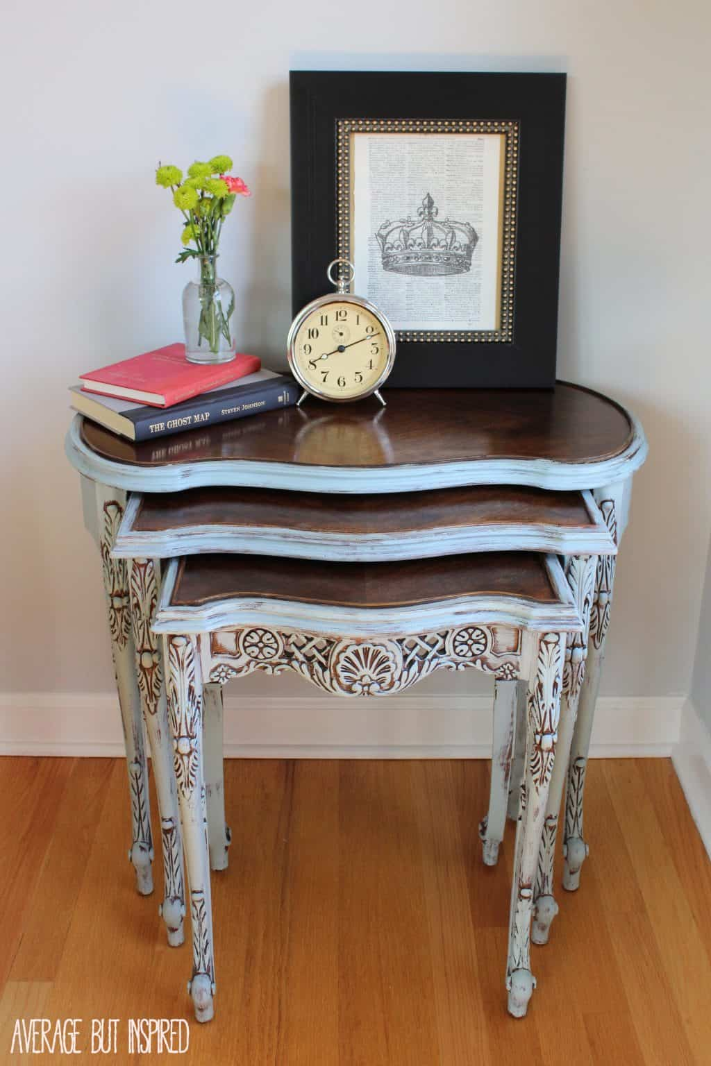 these beautiful nesting tables were refinished with country chic paint in elegance and dark walnut stain