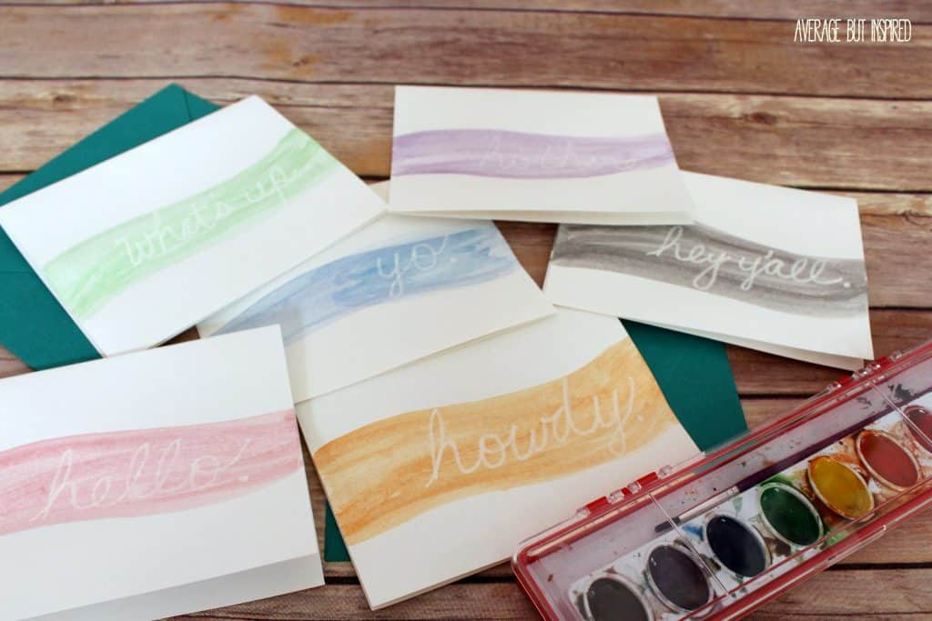 Grab your kiddos' watercolor set and make your own SUPER EASY DIY Watercolor Notecard set in just five minutes!  This may be the easiest craft project you ever attempt!
