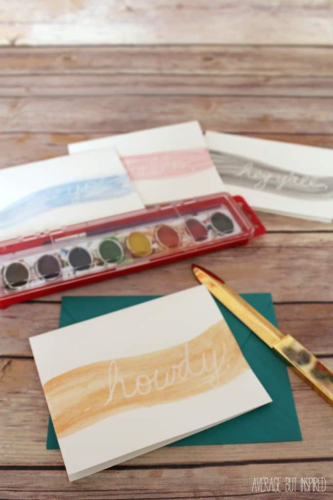 Absolutely NO artistic talent is needed to make these fun DIY watercolor notecards.  Totally customizable with whatever sayings or monograms you like, and totally fun to make!