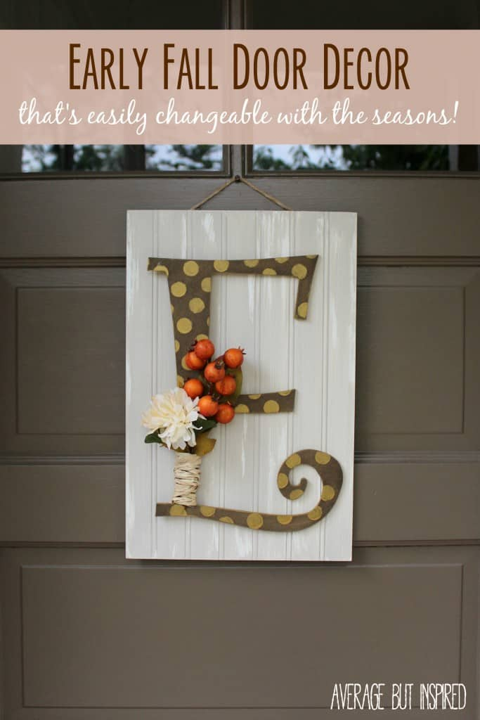 This monogram fall door decor is a quick project! Use velcro to attach the letter and embellishments for a quick change with the seasons or holidays!