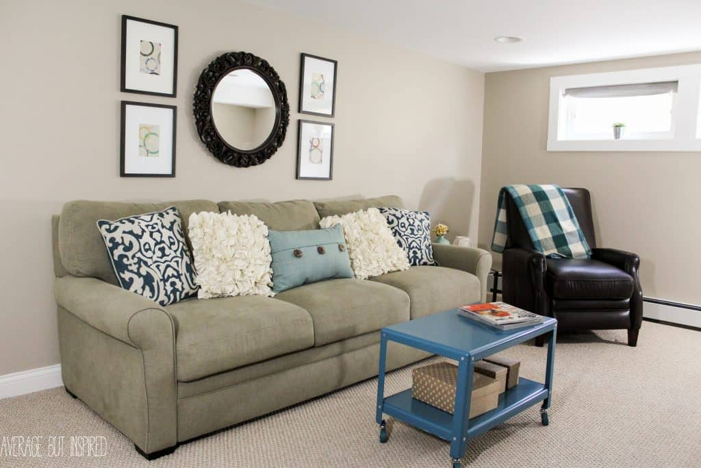 A big basement living room makeover for Room makeover