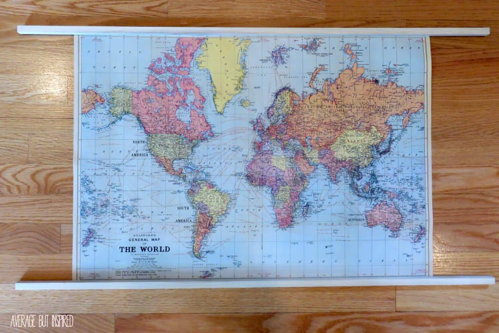 Easy DIY Map Art - Us vintage map with dowel