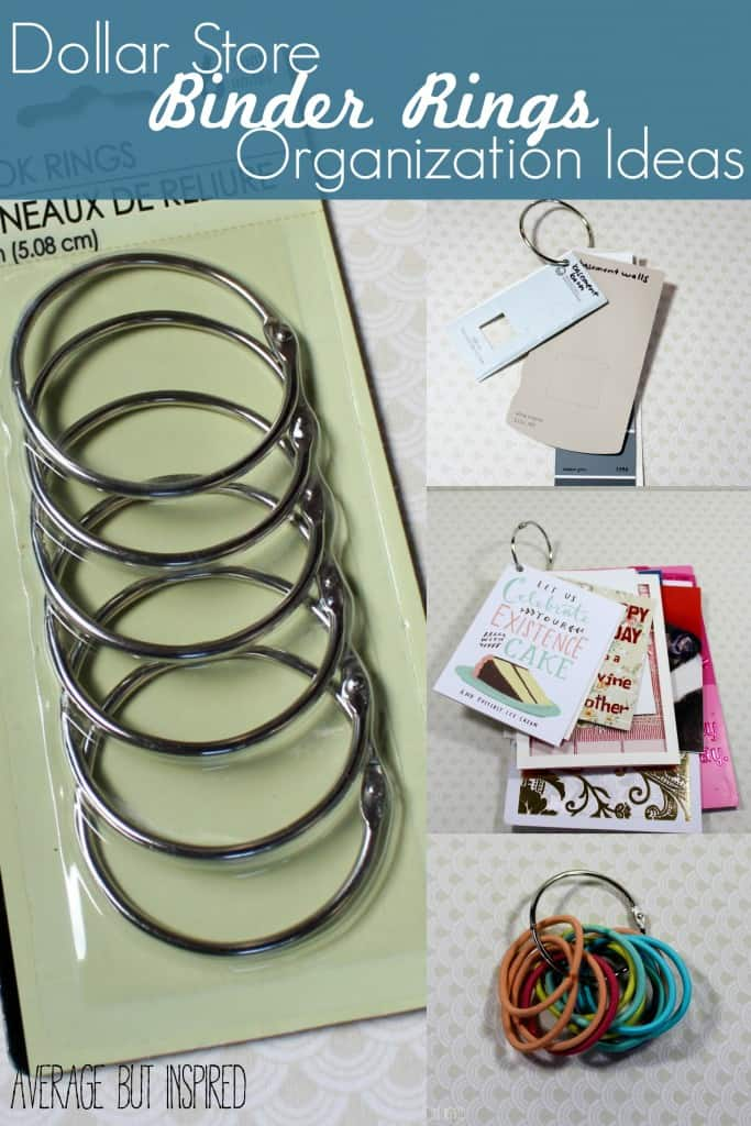 Binder rings are awesome little tools for organization and are so CHEAP! This post has great ideas on how to use them to organize everyday items.