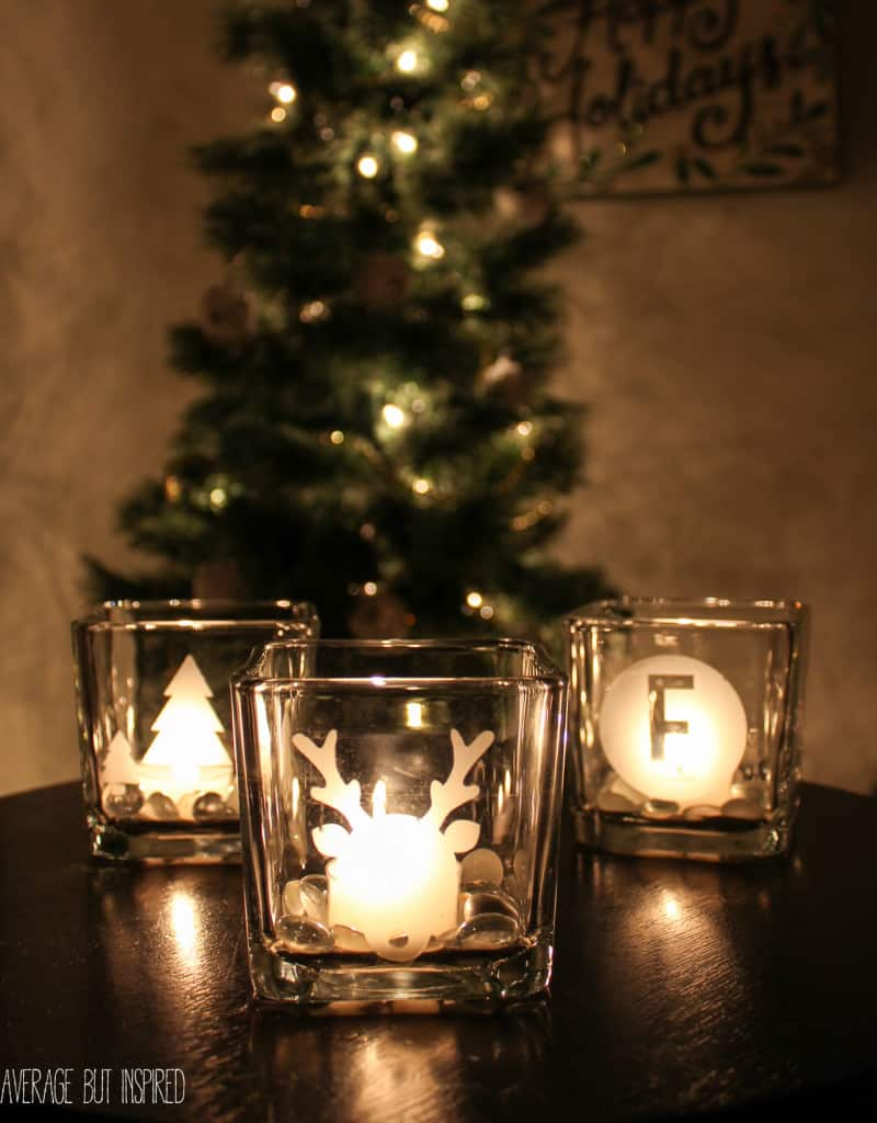 DIY etched glass votives are such a GREAT gift! They're easy to make and inexpensive. Get the full tutorial here.