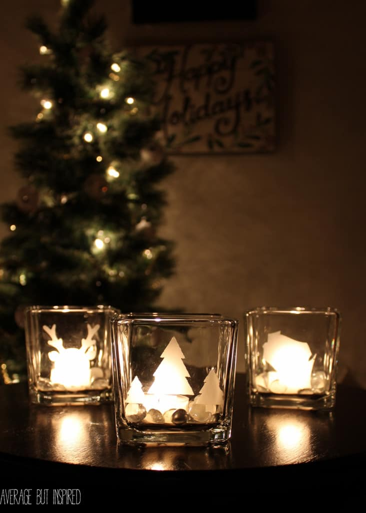 DIY etched glass candle holders are such a GREAT gift! They're easy to make and inexpensive. They can also be gifted as makeup brush holders or vases. Get the full tutorial here.