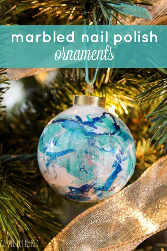 Marbled Nail Polish Ornaments are a quick project with fabulous results! Get the full tutorial here and learn how to make them in any shape or color combo!