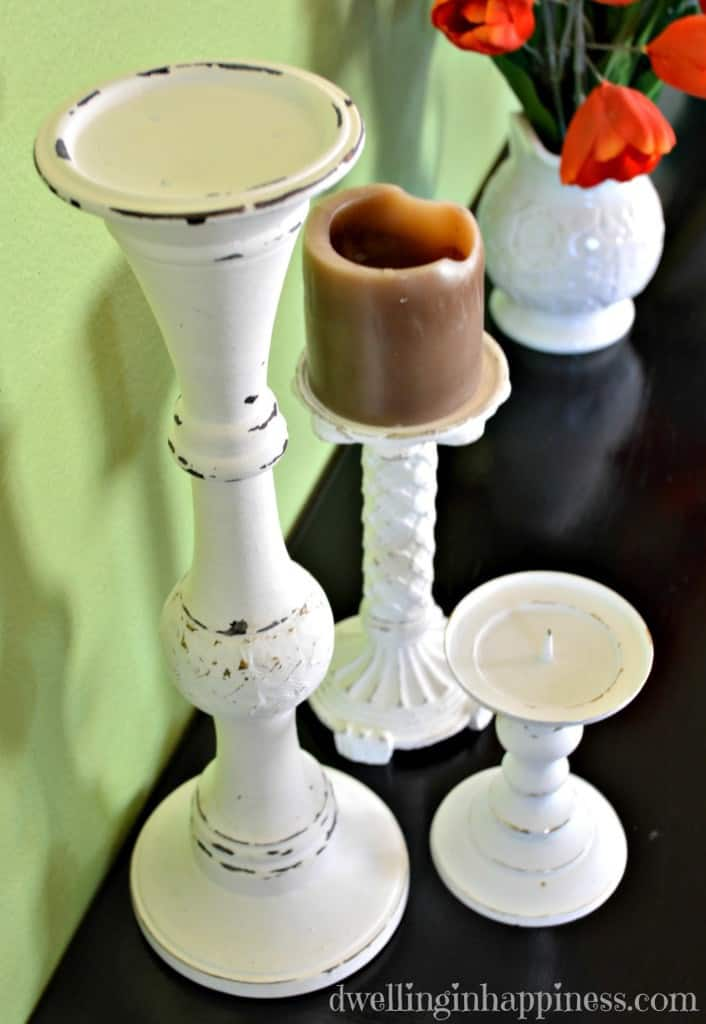 Candle holders updated with chalk paint are a great DIY project.