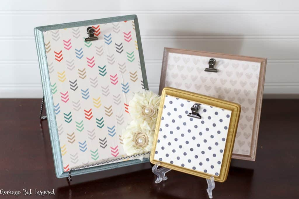 Love this quick and easy project! Turn wooden plaques from the craft store into adorable picture frames with scrapbook paper and paint. Get the full tutorial at averageinspired.com.