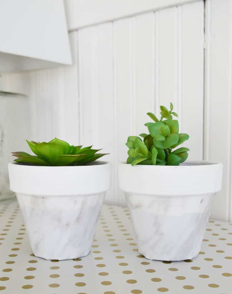 DIY Marble Succulent Pots - Florist bucket transformation - a great way to bring the outdoors inside this spring!