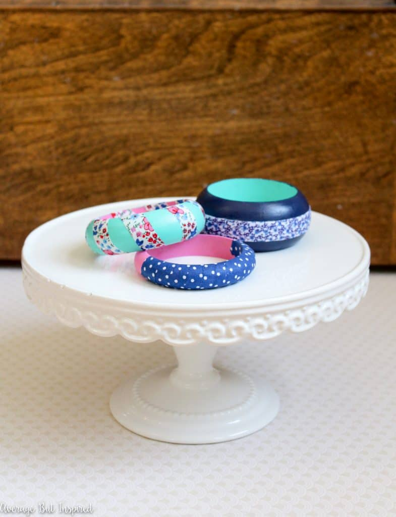 Paint and fabric tape are all you need to make adorable fabric tape bangle bracelets!