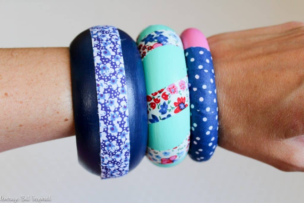 Customize plain wooden bangles with paint and fabric tape for a quick and easy DIY bracelet! Get the full supply list and tutorial in this post.
