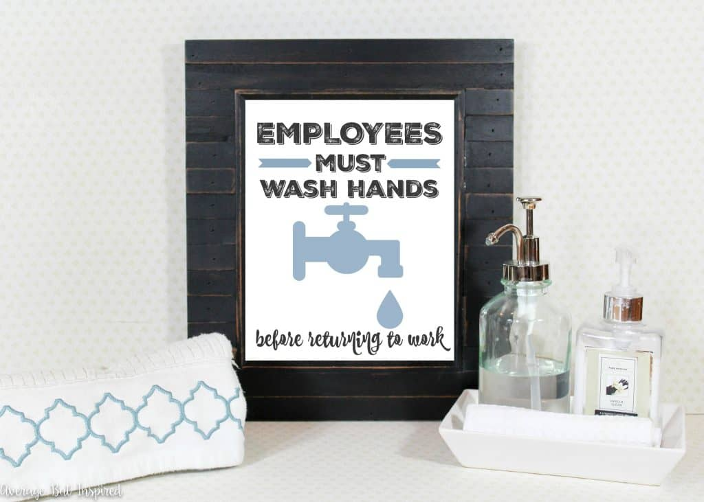Adorable! This FREE printable bathroom art comes in four colors to choose from! Give visitors to your home's bathroom a chuckle with this funny print.