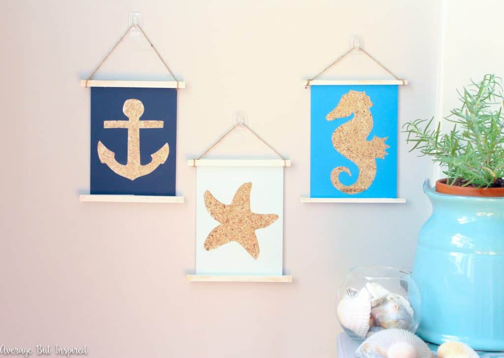 Use sand to create adorable sandy shapes wall art with this fun tutorial! It's a surprisingly low-mess project and it's really easy to make. Get the full tutorial and FREE shape templates in this post.