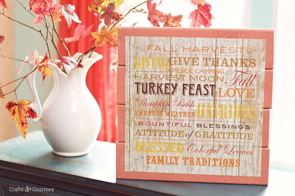 DIY Scrapbook Paper Fall Sign from Crafts by Courtney for Mod Podge Rocks