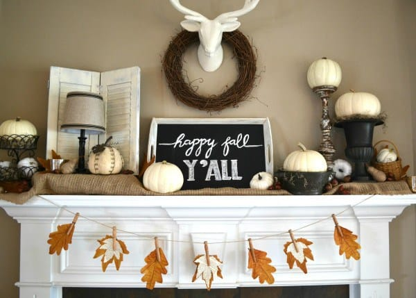 Fall Mantel with Fall Leaf Banner via Sondra Lyn At Home.com