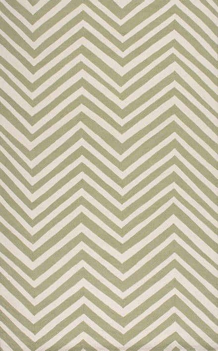 This affordable area rug in pretty shades of green and cream would look great in any room! Heritage Rug Modern Chevron
