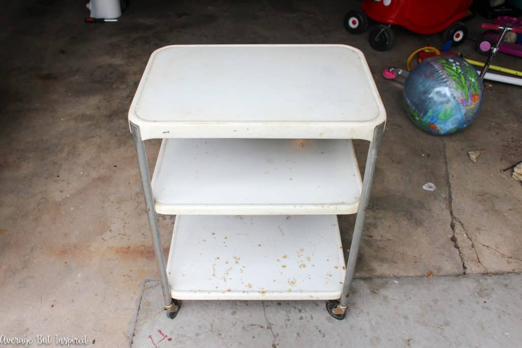 "The ""before"" version of a vintage projector cart. The ""after"" is so much prettier!"
