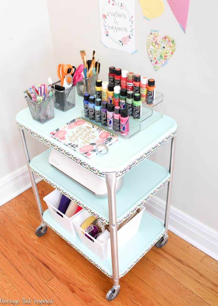 A vintage projector cart got a makeover and a new purpose as a craft cart. Get all the details on how to easily replicate this project right here!