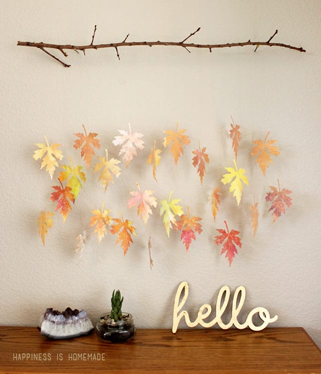 Watercolor Fall Leaf and Branch Mobile from Happiness is Homemade