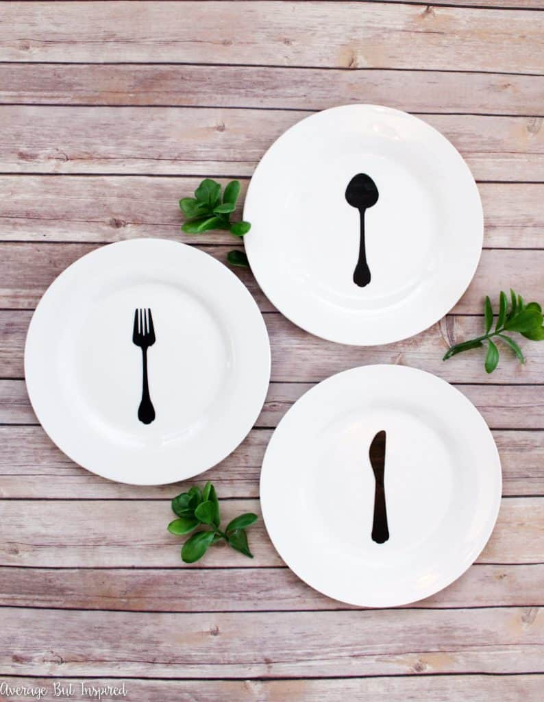 Customize plain plates from the dollar store with a fork knife and spoon silhouette & DIY Dollar Store Plates Decor