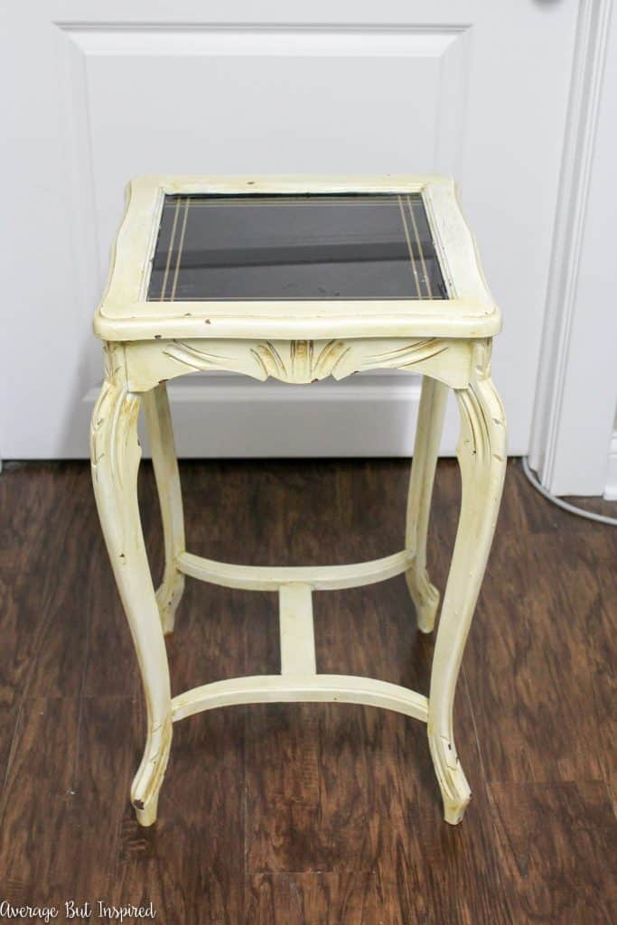 This outdated table with an ugly paint job got a makeover! Read all about its new look, including how it got repainted without using a topcoat or sealer.