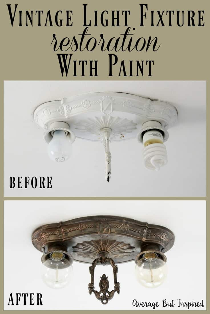 An old light fixture from the 1920's was restored with paint! Learn how to create a faux antique brass finish with this tutorial. Click through for a full supply list and instructions.