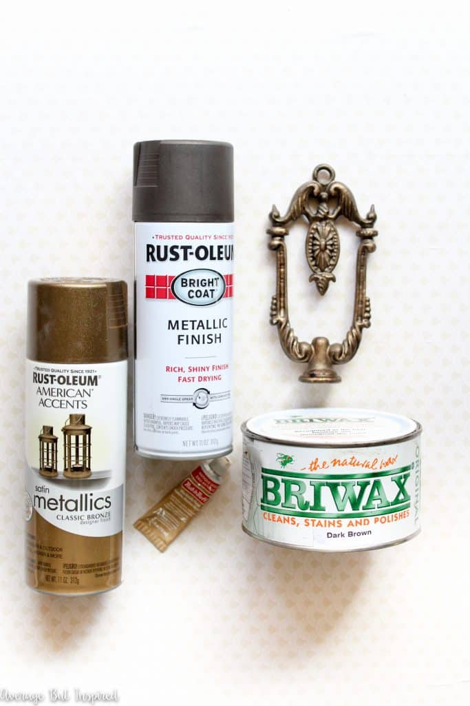 You only need a few inexpensive supplies to create a gorgeous faux antique brass finish that's perfect for hardware, light fixtures, and more!