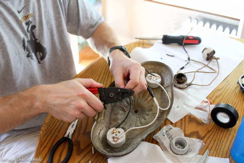 A 1920's light fixture gets rewired.
