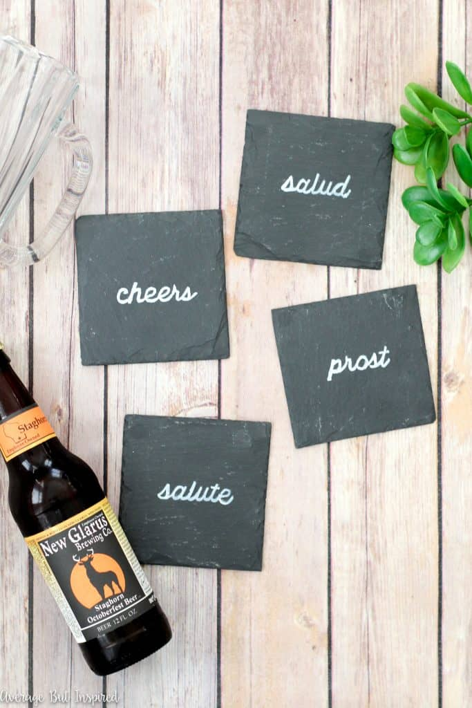 These DIY slate coasters are a wonderful DIY gift idea! Get the full tutorial on how to make your own coasters in this post.