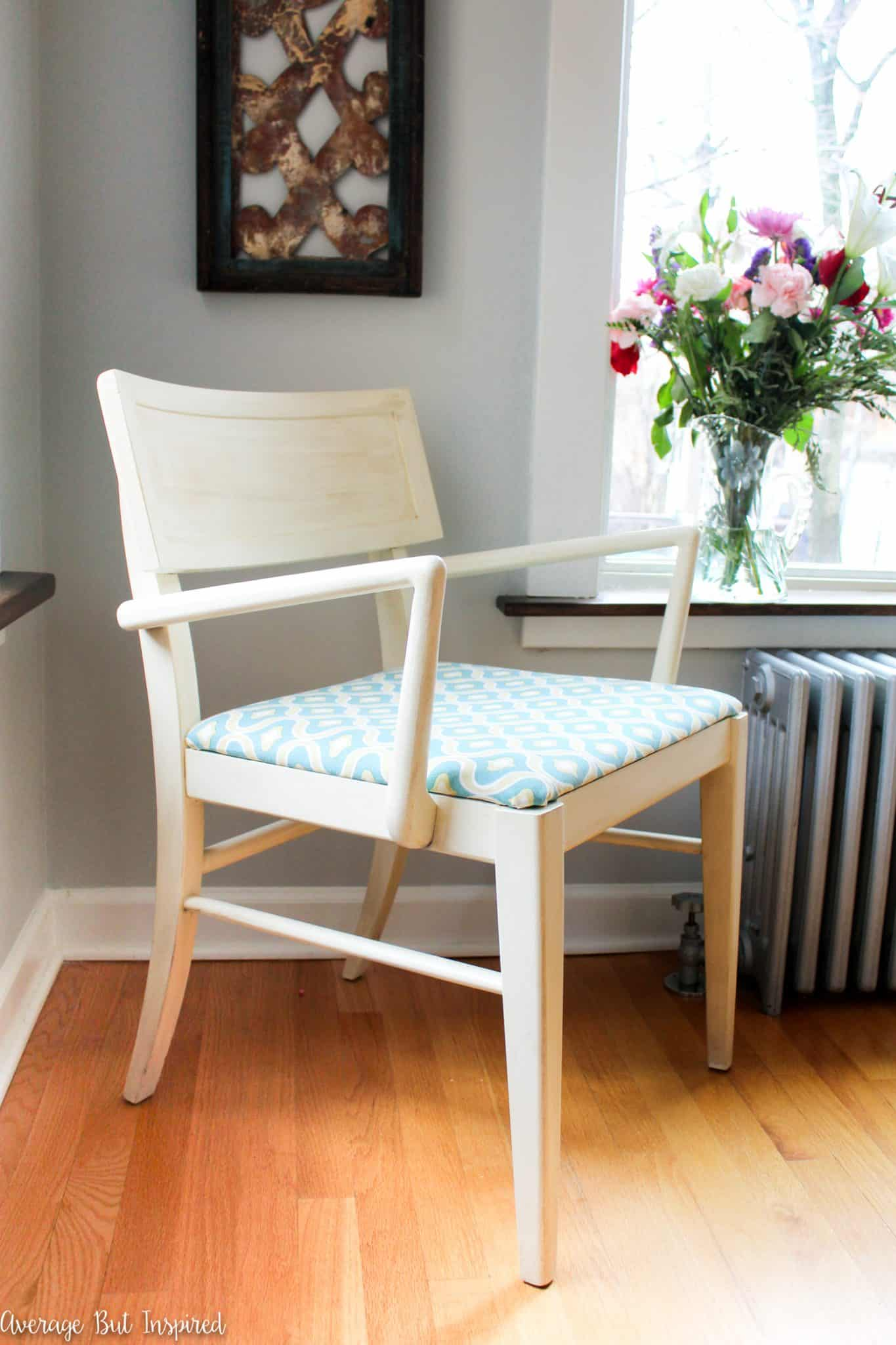 A set of four mid-century dining chairs is given a beautiful makeover in this post! Check out all the before and after photos!