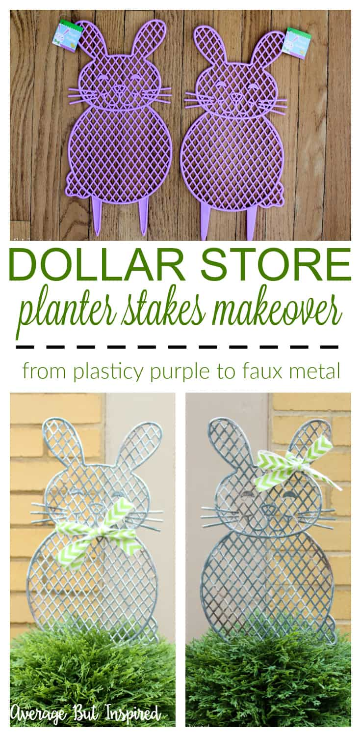 Give plastic dollar store planter stakes a beautiful makeover with a faux metal finish! Learn how to easily upgrade the look of these cute spring garden decorations in this post.